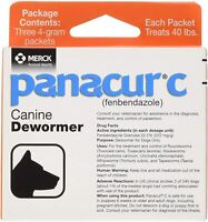 Panacur C Canine Dewormer Dogs 4 Gram Each Packet Treats 40 lbs (3 Packets)