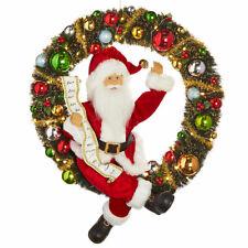 "19.5"" Lighted Wreath with Santa Christmas Decor Raz Imports 3915551 New Wow Mint"