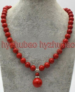 10mm Round Coral Red South Sea Shell Pearl 14mm Beads Pendant Necklace AAA+