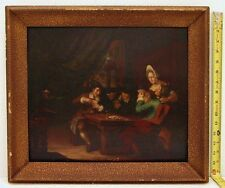 Art Oil on Wood Panel Wood Frame Figures & Monkey in Card Game Old Masters Style