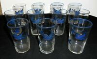 "Set of 11 Vintage BLUEBIRD 4 3/4"" Clear Glass Drinking Glasses"