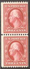 U.S. #349 Mint Pair w/Cert - 2c Carmine, P12 Coil ($385)