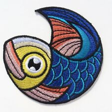 ÉCUSSON PATCH Applique thermocollant ** 6 X 6 cm ** Rond Poisson Mer Multicolore