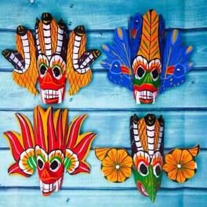 Set of 4 Sri Lanka handmade wood wall home deco clour full mask home deco