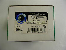 "1/4 - 20 x 2 "" SS Phillips Oval Head Stainless Steel Machine Screws - Box of 100"
