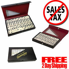 Double Six Dominoes Professional Game Set 28 with Black Case Ivory Tiles NEW