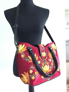 womens hand embroidered suede bag