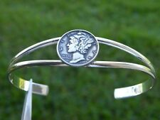 silver plated nice gift to her Silver Mercury dime Coin cuff Bracelet adjustable