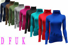 LADIES PLAIN RIBBED  POLO ROLL NECK LONG SLEEVE CASUAL TOP JUMPER SIZE S/M , M/L