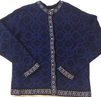 Vintage LL Bean Womens Large Knit Cardigan Sweater Lambs Wool Nordic Icelandic