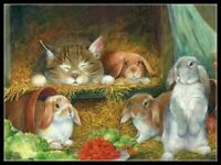 Cat and Bunnies - Chart Counted Cross Stitch Pattern Needlework Xstitch craft