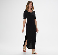 G.I.L.I. Petite Short-Sleeve Side Slit Maxi Dress Color Black Size Petite XXS