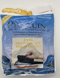 Opened Pack 2- Penguin Filter Cartridges Fits BIO-WHEEL 125 Power Filters B