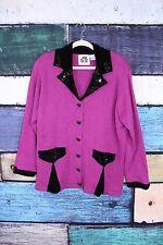 Storybook Knits HSN Purple Black New Treasures Novelty Cardigan Sweater Plus 1X