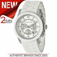 Michael Kors Runway Oversize White Chronograph Unisex Silver Hands Watch MK8108