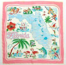"Vintage 1950's Florida Souvenir Foulard Rolled Hem 28"" Silk Blend Scarf"