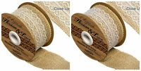 Woven Edge HESSIAN ribbon with LACE insert -White or Ivory 50mm wide 1m