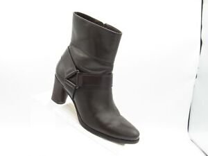 Cole Haan D32426 Sz 6 B Brown Leather Harness Heels Ankle Boots Shoes For Women