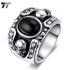 TT 316L Stainless Steel Skull Band Ring With Black Oval Onyx Size 7-11 (RZ132)