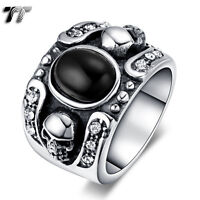 TT 316L Stainless Steel Skull Band Ring With Black Oval Onyx Size 7-12 (RZ132)