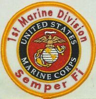 1st Marine Division Semper Fi. United States Marine Corps Iron-On Patch USMC