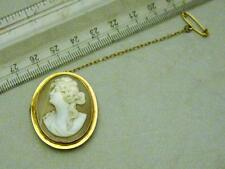 *VINTAGE/ANTIQUE 9CT GOLD CAMEO BROOCH- ARTEMIS DIANA?- GIFT - ANNIVERSARY*
