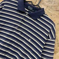 POLO RALPH LAUREN Mens Short Sleeve Polo Shirt M Long Blue White Striped Cotton