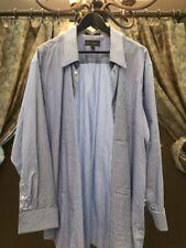 Paul Fredrick Mens Shirt 17.5-34 Blue and White Stripe
