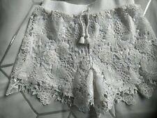 Girls White Cream Lace Effect Shorts Hot Pants Age 8