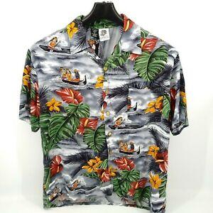 Kennington Mens Large Button Up Hawaiian Shirt Water Canoe Short Sleeve Rayon