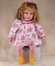 "Girl Vinyl & Cloth Baby Doll 18"" Sitting Spanish Singing Talking - Works!"