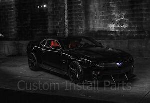 Illuminated White Light Up LED Grille Black Bowtie Textured Emblem Fits Camaro