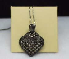 """Sterling Silver Vintage Marcasite Heart Pendant w/ 23"""" chain"""