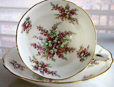 Hammersley & Co Fancy Pedestal Heather Flowers Vintage Bone China Cup & Saucer