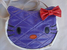 HELLO KITTY Purse Leather Purple W/White Trim Red Bow  Girls/Ladies Brand NEW