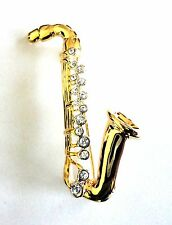 Brooch Gold Plated Saxophone Crystal Pin Sax Musical Instrument Free Shipping