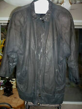 Vintage 1980s EXPRESS Leather COAT Jacket Prof. CLEANED xtra BUTTONS Black LARGE