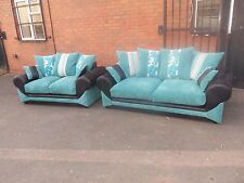 """KIRK 3 SEATER & 2 SEATER SOFA SET, """" BLACK AND TEAL """"TOP QUALITY"""""""