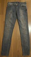 Stile Benetton Womens Ladies Snake Skin Design Jeans Blue UK Size 9