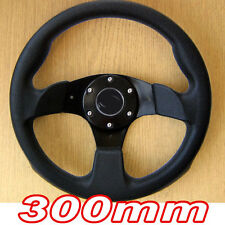 Black Sports Steering Wheel 300mm in PU Leather Imitation