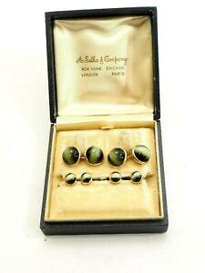Handsome Antique 24ct Chrysoberyl Cats Eye Tuxedo Buttons and Cufflinks Set 14k