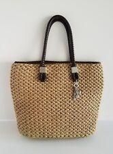 Brighton Woven Straw Jute Braided Leather Purse Handbag Tri Color Silver Charms