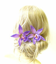 2 x Large Purple Orchid Flower Hair Pins Vtg Rockabilly Beach Clip 1950s 1322
