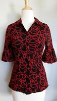 INC International Concepts Top S Black Red Mesh Knit 3/4 Sleeve Fitted Shirt