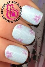 NAIL ART WATER TRANSFERS STICKERS DECALS PINK & WHITE BEAUTIFUL FLOWERS #451