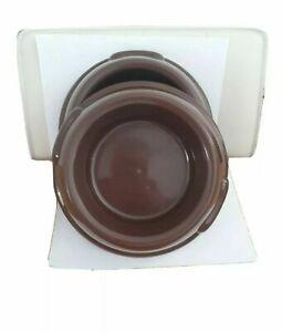 2 Bowls 1L Pet Dog Food Bowl Water Dish Feeding Animal Plastic Cat Brown
