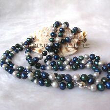 """50"""" 5-7mm Gray Navy Black Multi Color Freshwater Pearl Necklace Fashion Jewelry"""