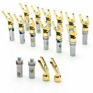 2-12x Nakamichi Spade Fork Banana Plug Gold Plated Screw 4mm Speaker Connectors