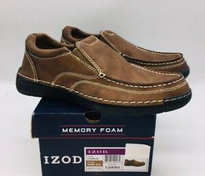 IZOD Men's Charlie Slip On Loafer Moccasin Memory Foam - Tan Brown