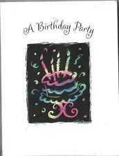 20 Count Invitation Note Cards Invites A Birthday Party Bright Cake Candles Neon
